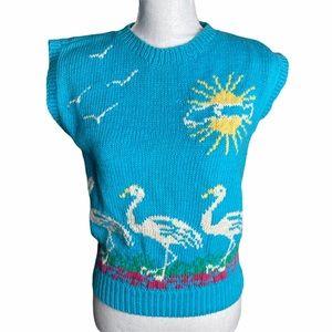 Vintage tropical flamingo sleeveless sweater sz M